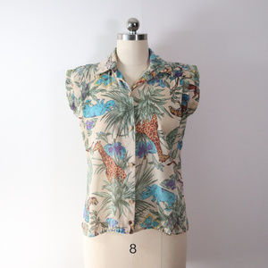 vintage 70s jungle print top shirt blouse M